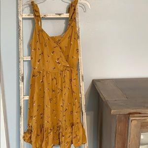 Papaya yellow floral dress